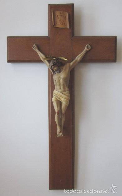 CRUCIFIJO - CRISTO DE TRES CLAVOS (Antigüedades - Religiosas - Crucifijos Antiguos)