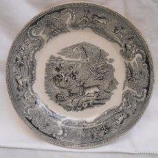 Antigüedades: PLATO LLANO DE LA FABRICA DE LA MANO DE CARTAGENA EN BLANCO E NEGRO. Lote 59840404
