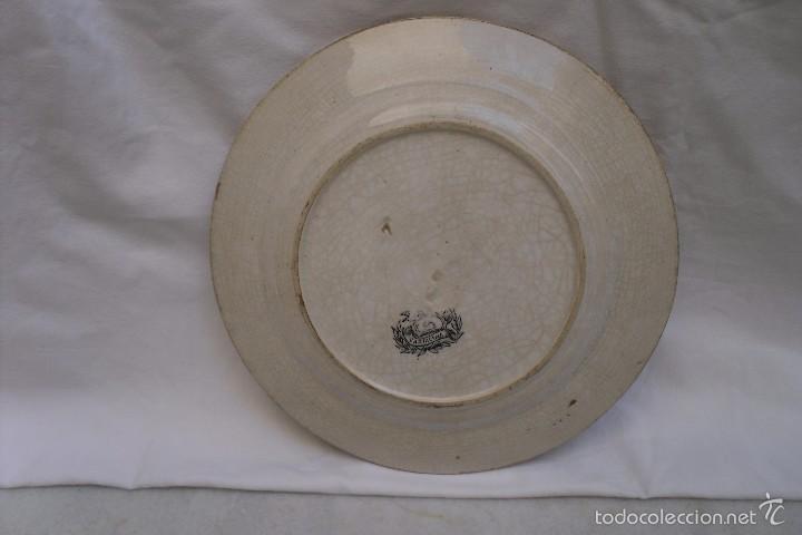 Antigüedades: PLATO LLANO DE LA FABRICA DE LA MANO DE CARTAGENA EN BLANCO E NEGRO - Foto 2 - 59840404