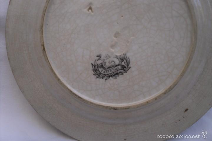 Antigüedades: PLATO LLANO DE LA FABRICA DE LA MANO DE CARTAGENA EN BLANCO E NEGRO - Foto 3 - 59840404