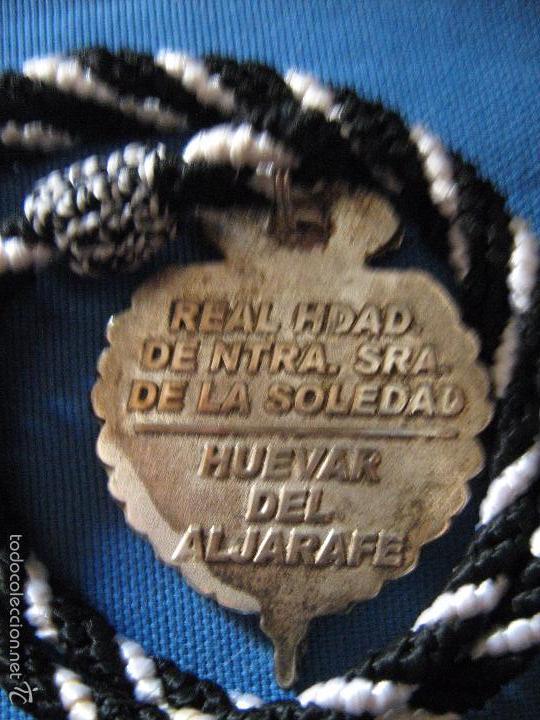 Antigüedades: SEMANA SANTA - ANTIGUA MEDALLA CORDON D LA HERMANDAD DE LA SOLEDAD DE HUEVAR DEL ALJARAFE - SEVILLA - Foto 2 - 59848704