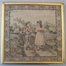 Antigüedades: ANTIGIO Y PRECIOSO TAPIZ PEQUEÑO ENMARCADO. Lote 59862976