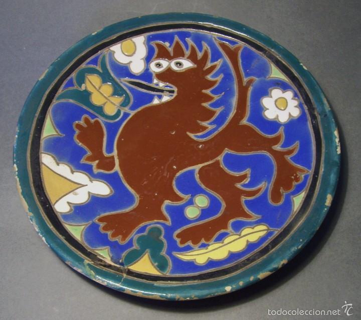 PLATO CERÁMICA DE CUERDA SECA TRIANA XIX (Antigüedades - Porcelanas y Cerámicas - Triana)