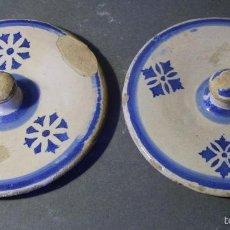 Antigüedades: TAPAS ALBARELOS CERÁMICA ARAGONESA DE MUEL XIX. Lote 59878551