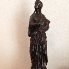 Antigüedades: ANTIGÜA FIGURA EN BRONCE STA . CECILIA PATRONA DE LA MÚSICA. Lote 59896539