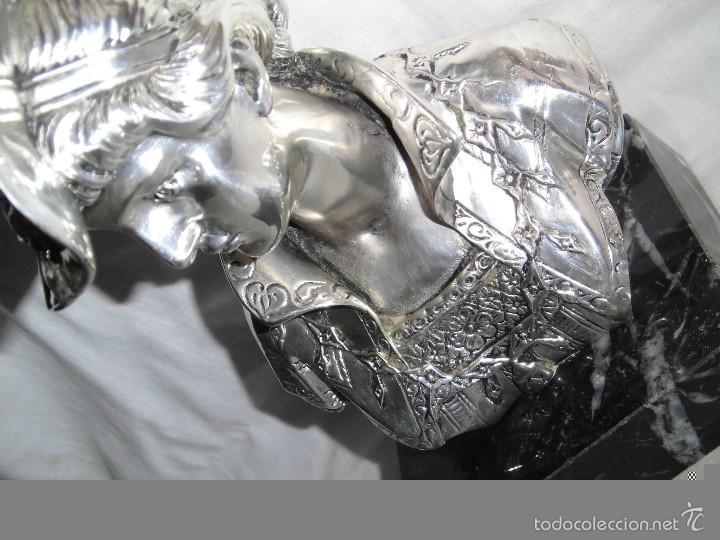 Antigüedades: BONITO BUSTO DE MUJER BAÑADO EN PLATA DE LEY BASE DE MARMOL - Foto 7 - 59977571