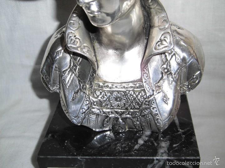 Antigüedades: BONITO BUSTO DE MUJER BAÑADO EN PLATA DE LEY BASE DE MARMOL - Foto 8 - 59977571