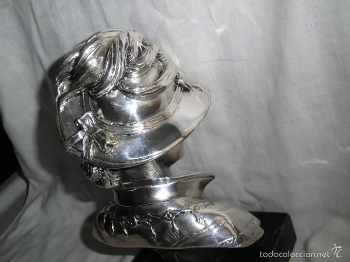 Antigüedades: BONITO BUSTO DE MUJER BAÑADO EN PLATA DE LEY BASE DE MARMOL - Foto 12 - 59977571