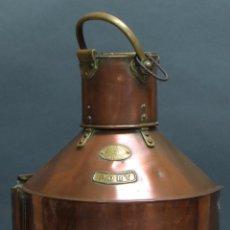 Antigüedades: FAROL COBRE CON REMATES BRONCE Y CRISTAL W HARVIE GLASGOW S XIX ELECTRIFICADO POSTERIORMENTE. Lote 60036911