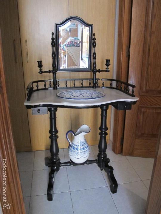 Antiguo lavamanos palanganero isabelino con pal comprar - Muebles industriales antiguos ...