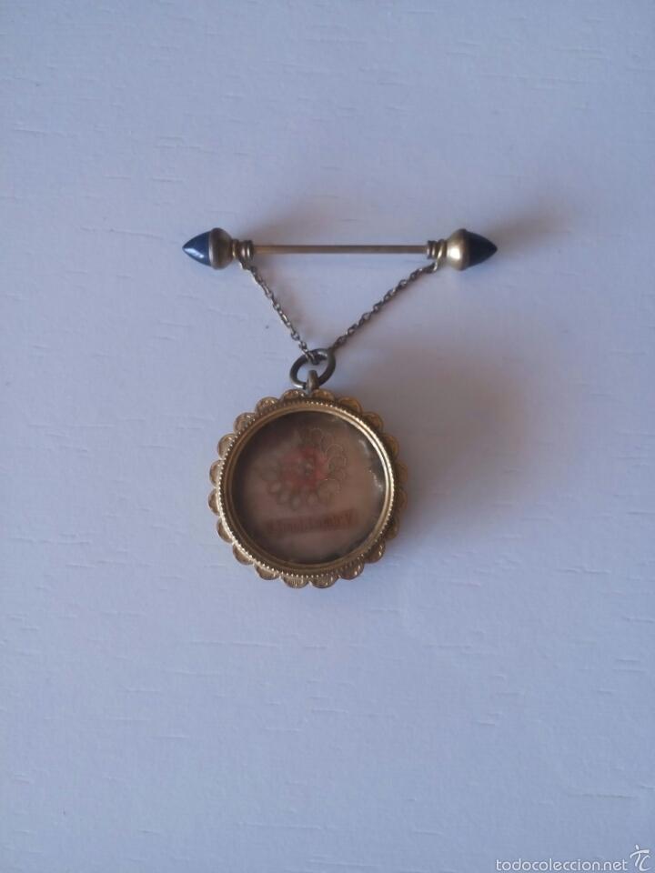 Antigüedades: Relicario muy antiguo con broche con cadenita y desenrosca - Foto 5 - 58961510