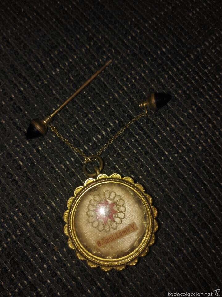 Antigüedades: Relicario muy antiguo con broche con cadenita y desenrosca - Foto 7 - 58961510
