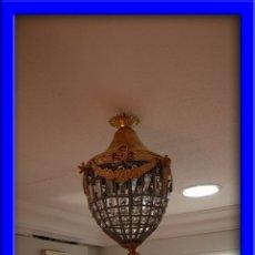 Antigüedades: LAMPARA FAROL O GLOBO DE CRISTAL Y BRONCE DORADO ALTURA 40 CM. Lote 60126927