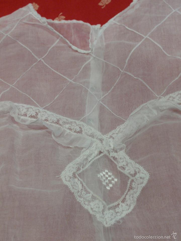 Antigüedades: VESTIDO DE COMUNIÓN DE ORGANDÍ Y ALENÇON - AÑOS 40 - Foto 6 - 33899240