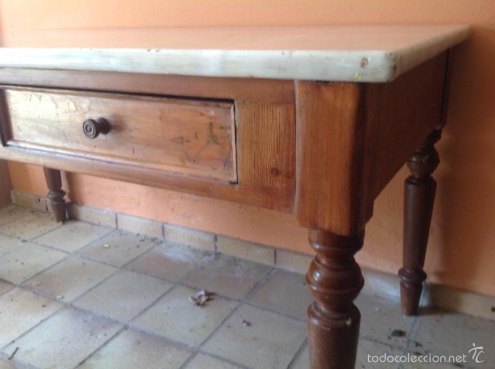 Mesa de trabajo antigua de cocina con mármol - Vendido en Venta ...
