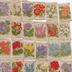Lote 50 aplicaciones de flores bordadas en seda S XIX