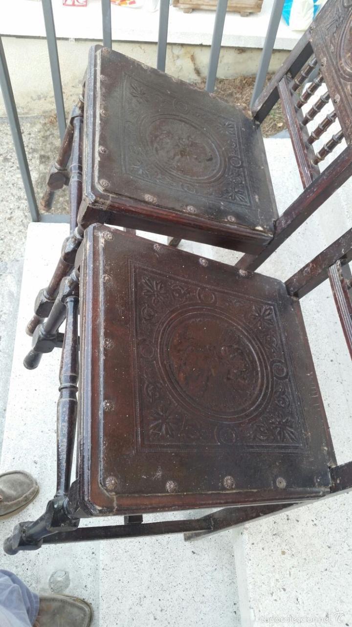Antigüedades: SILLAS MUY ANTIGUAS CON ASIENTOS Y RESPALDOS LABRADOS CON CABEZAS MITOLOGICAS,SIGLO XIX APROX - Foto 3 - 60223847