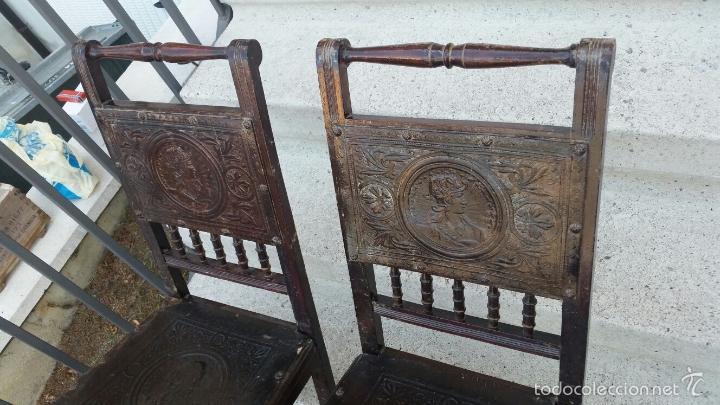 Antigüedades: SILLAS MUY ANTIGUAS CON ASIENTOS Y RESPALDOS LABRADOS CON CABEZAS MITOLOGICAS,SIGLO XIX APROX - Foto 4 - 60223847