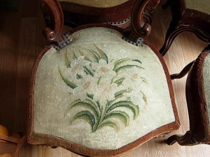 Antigüedades: FANTASTICAS SILLAS DE NOGAL PENDIENTES DE RESTAURACION - Foto 10 - 60270119