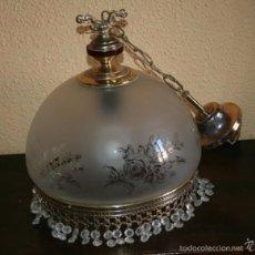 Antigüedades: BONITA LAMPARA ANTIGUA PARA TECHO DE FINO CRISTAL. Lote 216912445