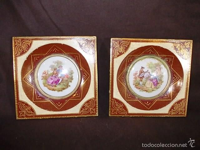 antigua pareja de cuadros fragonard escena roma Comprar Porcelana