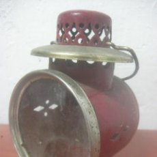 Antigüedades: ANTIGUO FAROL DE FERROCARRIL HECHO EN BRONCE Y PINTADO EN ROJO, PRINCIPIOS DE SIGLO XX. Lote 62666444
