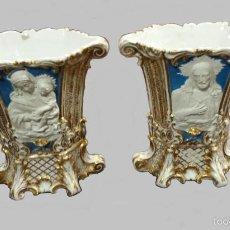 Antigüedades: PAREJA DE JARRONES EN PORCELANA DE BISCUITTE. Lote 60357439