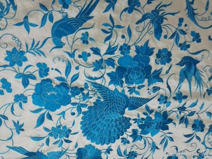 Antigüedades: Colcha de Manila. Seda bordada a mano. Siglo XIX - Foto 6 - 60363291