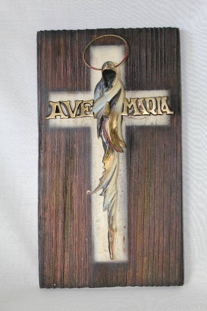 CRUZ AVE MARIA EN BRONCE Y MADERA (Antigüedades - Religiosas - Cruces Antiguas)