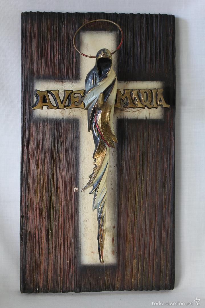 Antigüedades: cruz ave maria en bronce y madera - Foto 3 - 60394303