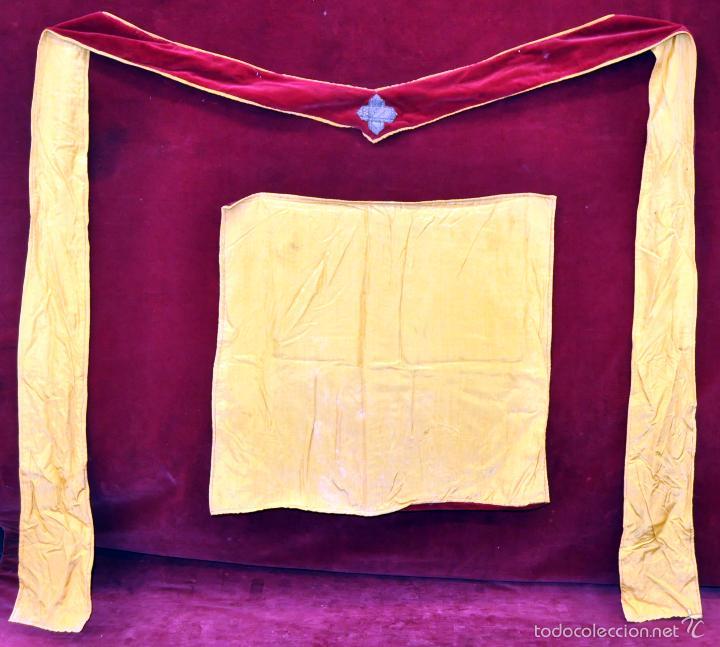 Antigüedades: CONJUNTO DE ESTOLA Y CORPORAL EN ROPA TERCIOPELADA - Foto 5 - 60409539