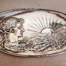 Antigüedades: PRECIOSA BANDEJA MODERNISTA EN PLATA MENESES CONTRASTADA. Lote 60457115