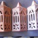 Antigüedades: 3 APLIQUES PARA BOMBILLA DE BARRO. Lote 60469715