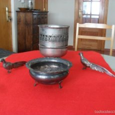 Antigüedades: BONITO CONJUNTO CENTRO DE MESA,FAISANES,METAL. Lote 60505911