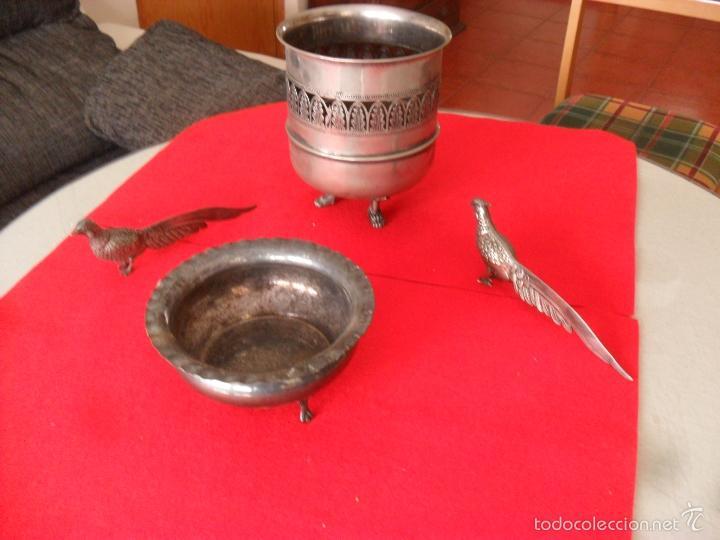 Antigüedades: bonito conjunto centro de mesa,faisanes,metal - Foto 2 - 60505911