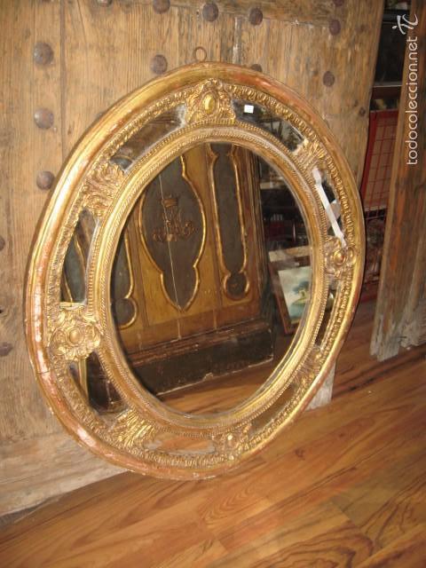 Impresionante espejo ovalado antiguo de madera comprar for Espejo ovalado madera