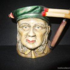Antigüedades: ANTIGUA JARRA CON FORMA DE BUSTO, CARA ROSTRO, HECHA Y PINTADA A MANO.. Lote 60549231
