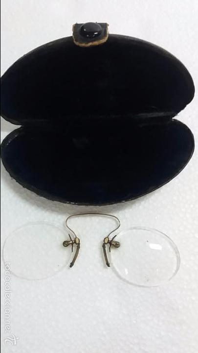 Antigüedades: Gafas lentes anteojos, sin patillas en estuche. - Foto 3 - 60604383
