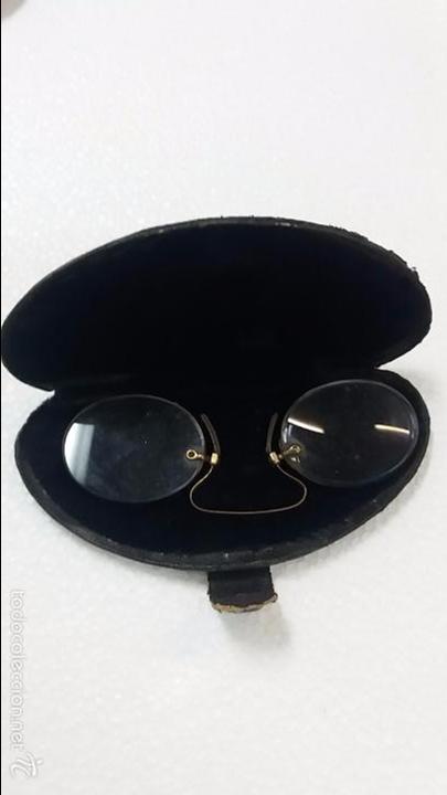 Antigüedades: Gafas lentes anteojos, sin patillas en estuche. - Foto 4 - 60604383
