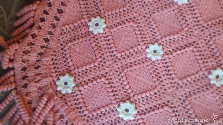 Antigüedades: preciosa colcha de lana hecha a ganchillo. preciosa - Foto 4 - 60617427