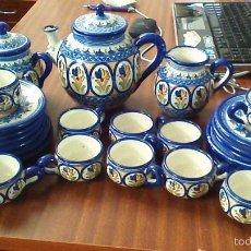Antigüedades: BONITO JUEGO DE CAFE DE CERAMICA DE PUENTE DEL ARZOBISPO. 12 SERVICIOS.. Lote 60699595