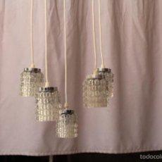 Antigüedades: LAMPARA DE TECHO CON 4 TULIPAS DE CRISTAL. Lote 60739903
