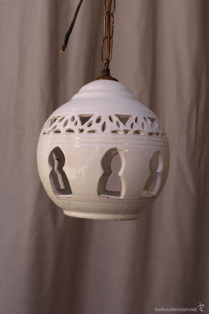 pintada en lampara de techo blanco ceramica de deroCxB