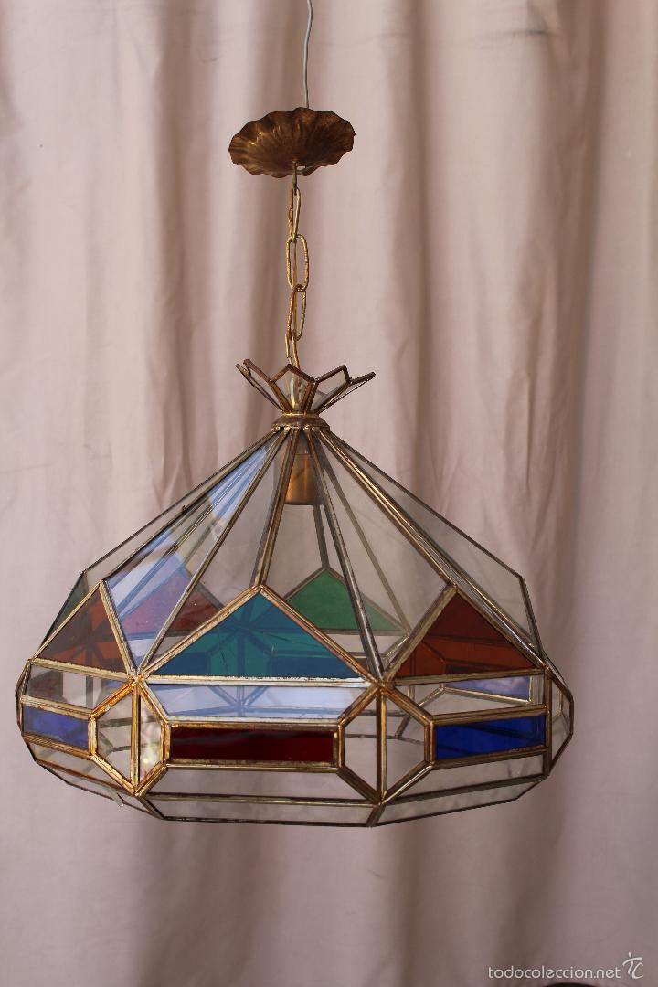 lampara de techo en laton con cristales de colores antigedades iluminacin lmparas antiguas