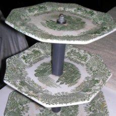 Antigüedades: PLATOS ANTIGUOS DE COLOR VERDE DE LA CARTUJA DE SEVILLA . Lote 60768055