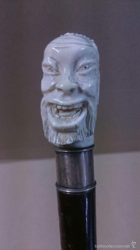Antigüedades: Baston en marfil y plata, con cara de hombre sabio sonriente - Foto 2 - 60773675