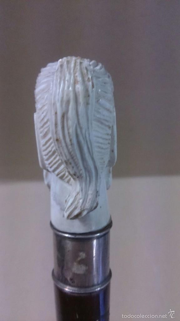 Antigüedades: Baston en marfil y plata, con cara de hombre sabio sonriente - Foto 3 - 60773675