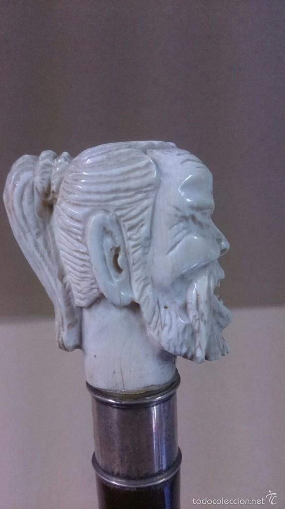 Antigüedades: Baston en marfil y plata, con cara de hombre sabio sonriente - Foto 4 - 60773675