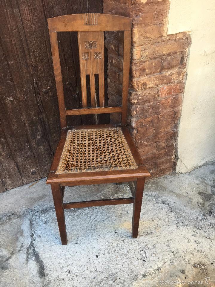 Silla antigua de madera con asiento rejilla y r comprar sillas antiguas en todocoleccion - Sillas de madera antiguas ...