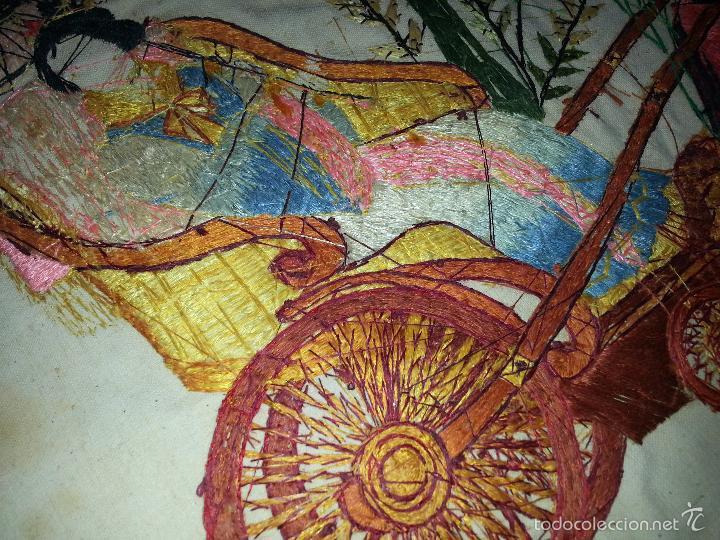 Antigüedades: MUY ANTIGUO COJIN BORDADO A MANO Y PINTADO OLEO FILIPINO CHINO ORIENTAL JAPONES MANTON MANILA ? - Foto 6 - 60797463